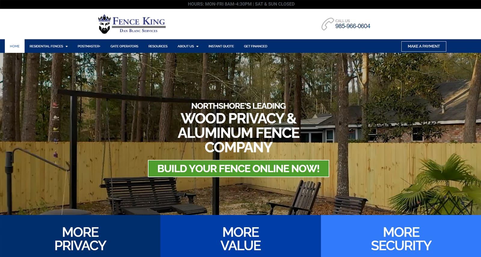 Fence King Website After