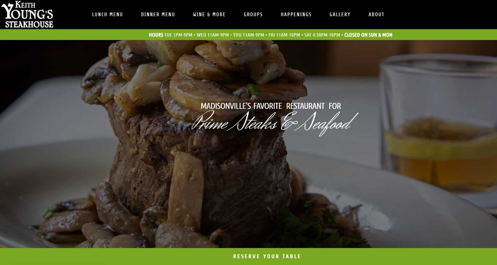 Keith Young's Steakhouse Website After