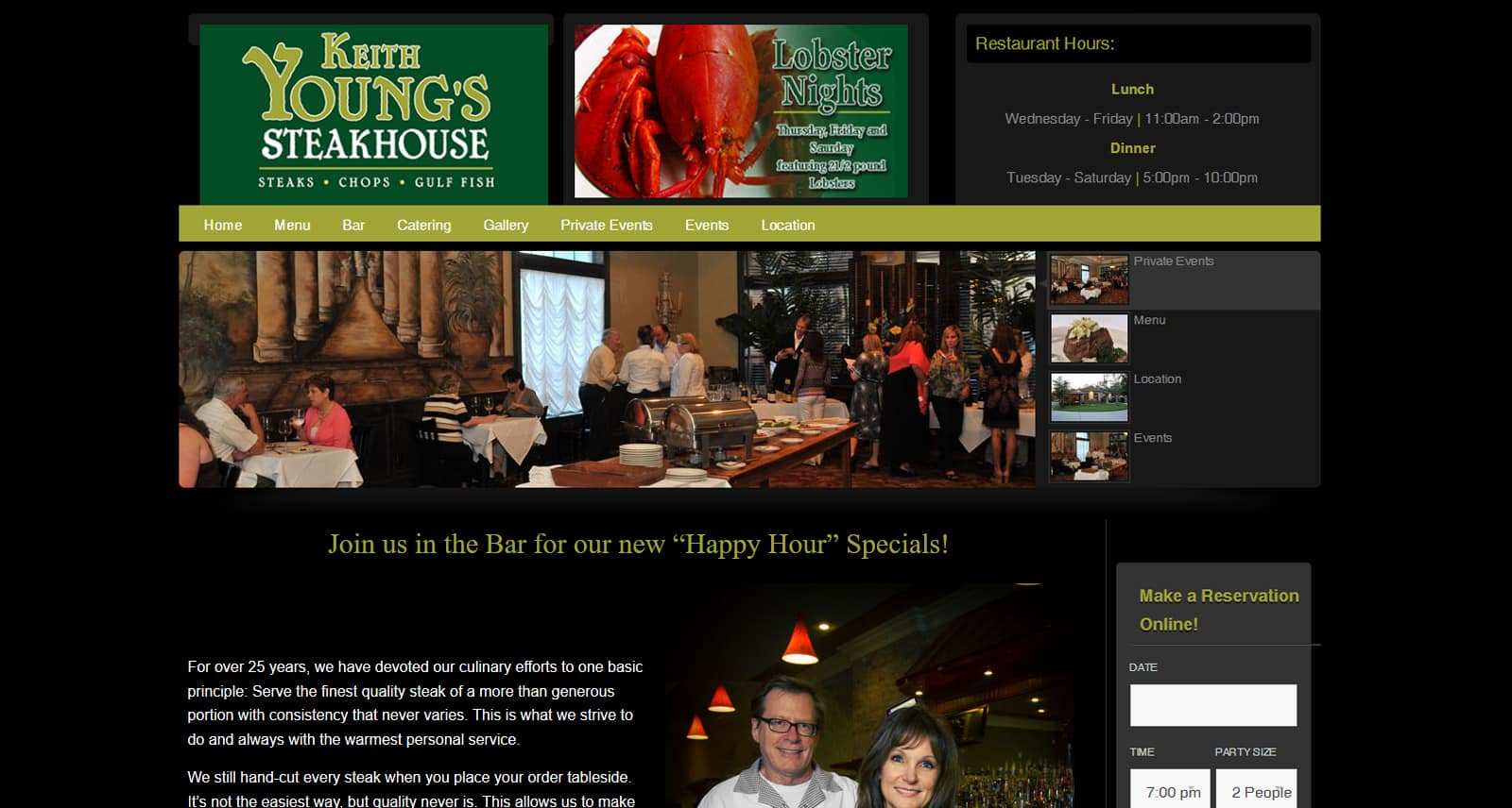 Keith Young's Steakhouse Website Before