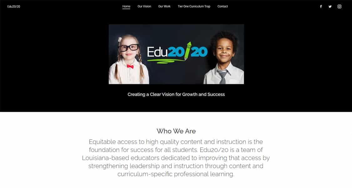 EDU20/20 Website Before