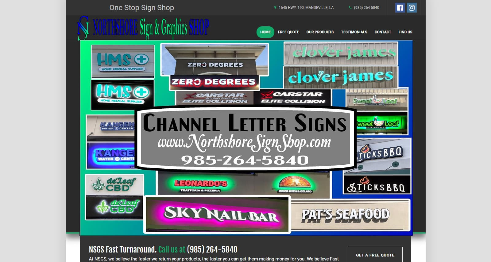 Northshore Sign Shop Website Before