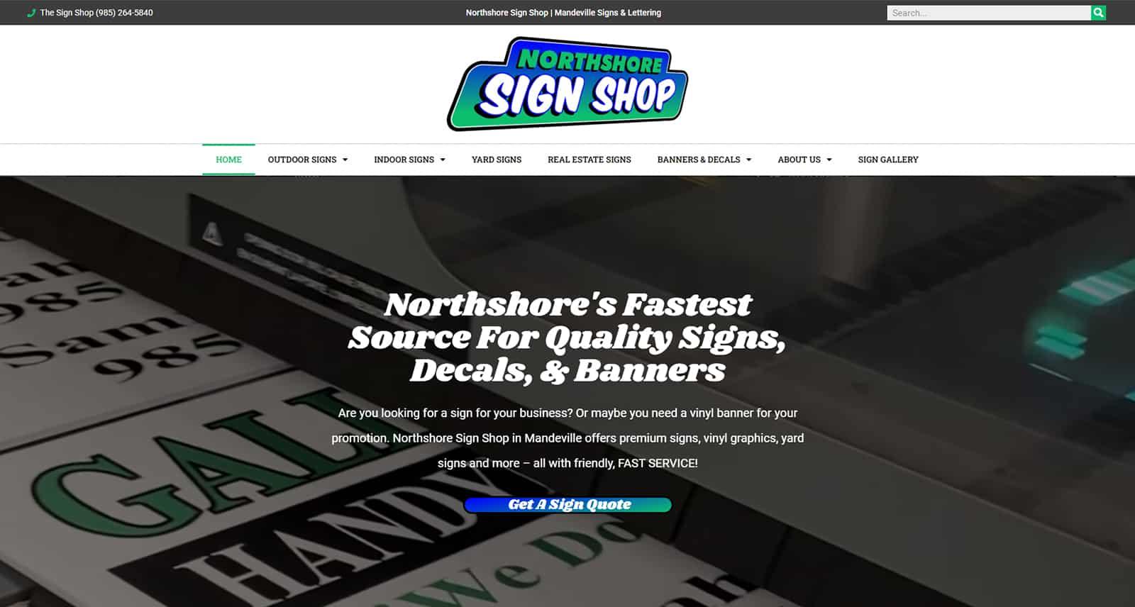 Northshore Sign Shop Website After